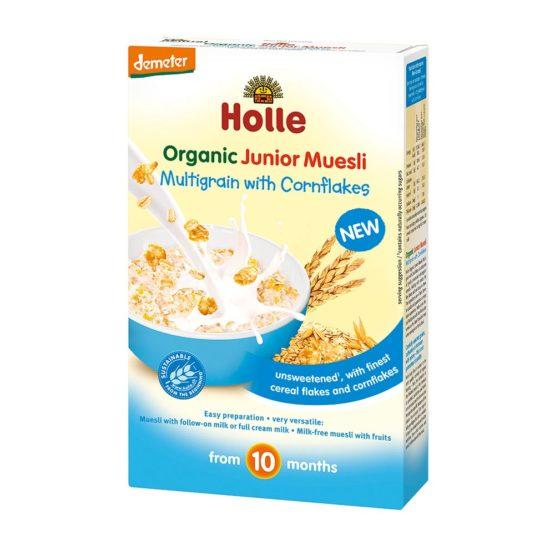 Junior cornflakes večzrnata kaša za otroke Holle.