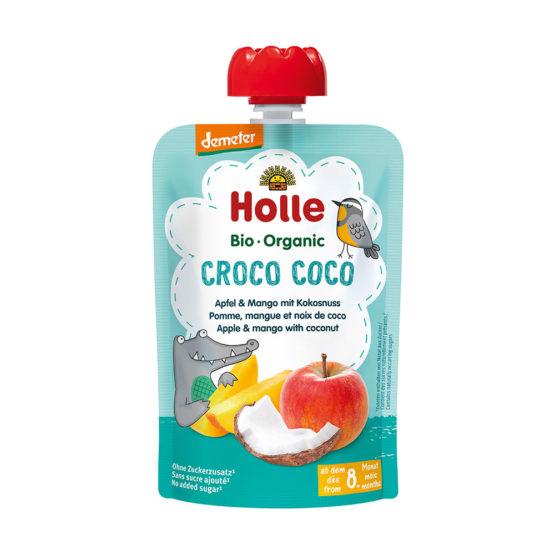 HOLLE sadni pire, KROKODIL KOKO jabolko & mango s kokosom, BIO, (Demeter)